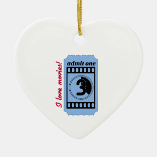 I Love Movies Ceramic Ornament