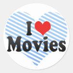 I Love Movies Round Sticker