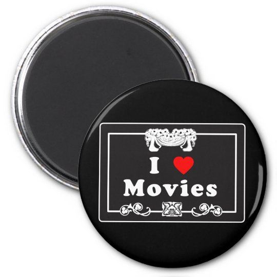 I Love Movies with Silent Movie Flair 2 Inch Round Magnet