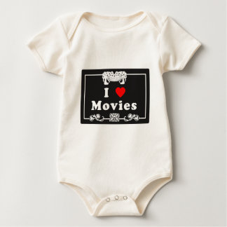 I Love Movies with Silent Movie Flair Baby Bodysuit