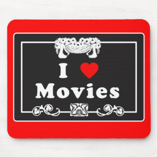 I Love Movies with Silent Movie Flair Mouse Pad