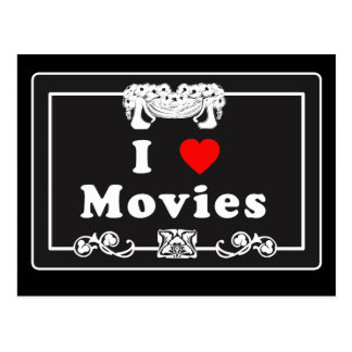I Love Movies with Silent Movie Flair Postcard