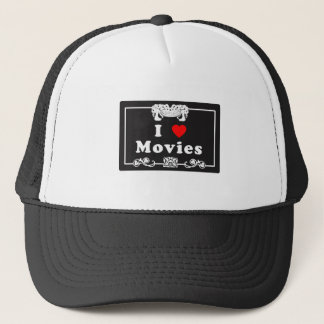 I Love Movies with Silent Movie Flair Trucker Hat