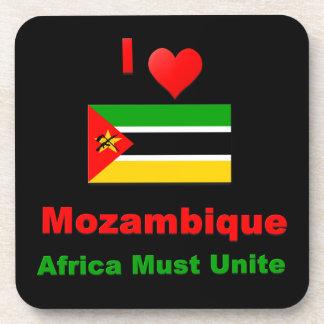 I Love  Mozambique, Africa Must Unite Beverage Coaster
