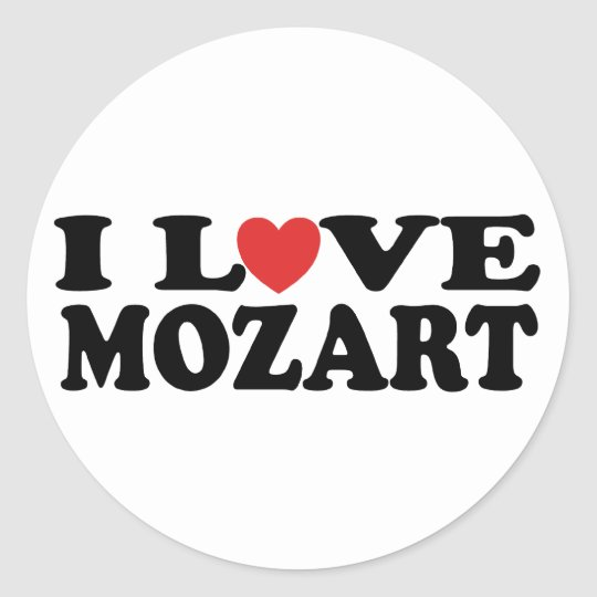 I Love Mozart Classic Round Sticker
