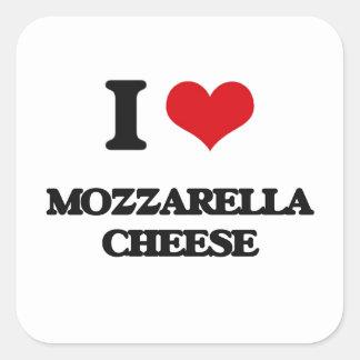 I love Mozzarella Cheese Square Sticker
