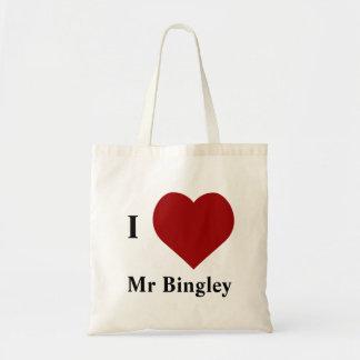 I Love Mr Bingley Tote Bags