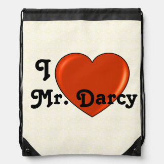 I love Mr. Darcy with Heart Jane Austen Drawstring Backpack