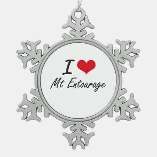 I love Mt Entourage Snowflake Pewter Christmas Ornament