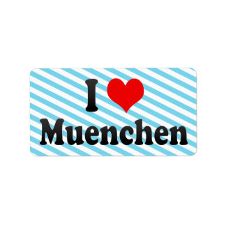 I Love Muenchen Germany Personalized Address Labels