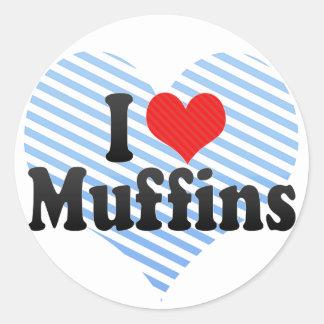 I Love Muffins Classic Round Sticker