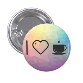 I Love Mug Cups 1 Inch Round Button