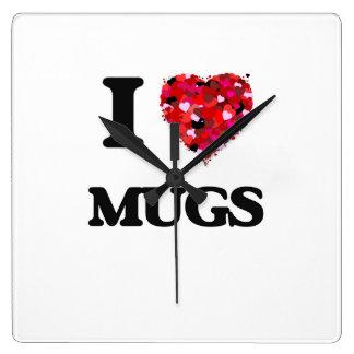 I Love Mugs Square Wall Clock