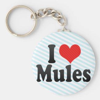 I Love Mules Keychain