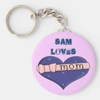 I Love Mum 2 Basic Round Button Keychain
