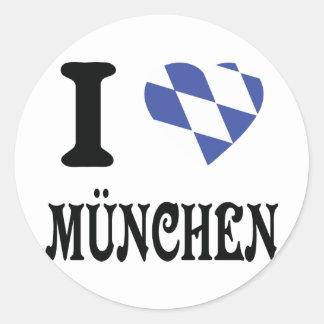 I love München icon Classic Round Sticker