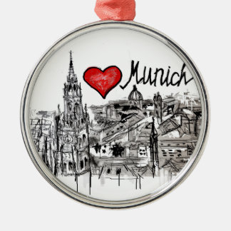 I love Munich Metal Ornament