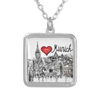 I love Munich Square Pendant Necklace