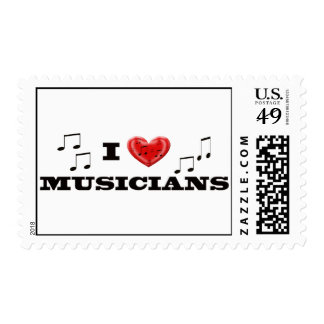 I Love Muscians heart and music notes Stamp