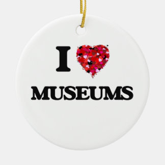 I Love Museums Double-Sided Ceramic Round Christmas Ornament