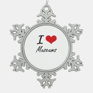 I Love Museums Snowflake Pewter Christmas Ornament