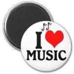 I Love Music 2 Inch Round Magnet