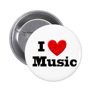 I Love Music and Heart 2 Inch Round Button