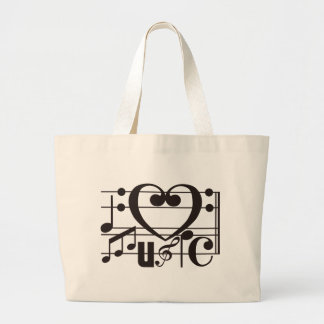 I LOVE MUSIC CANVAS BAGS