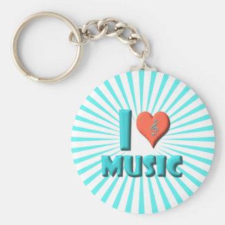 I Love Music Basic Round Button Keychain