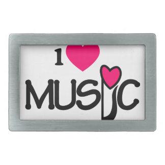 I Love Music Rectangular Belt Buckle