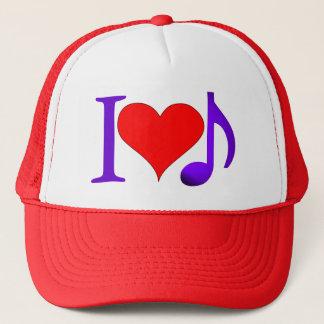 I Love Music Big Red Heart Purple Eighth Note Trucker Hat