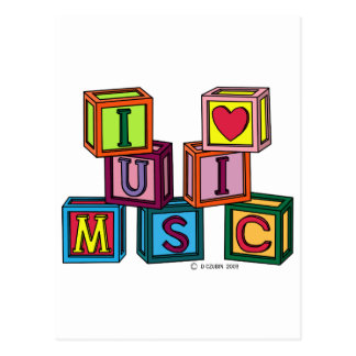 I Love Music Blocks Postcard
