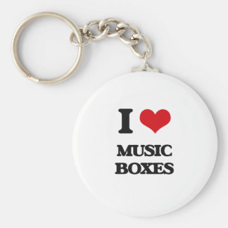 I Love Music Boxes Basic Round Button Keychain