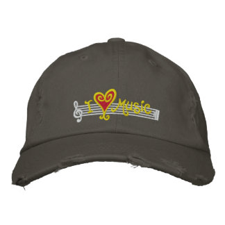 I Love Music Cap Embroidered Baseball Caps