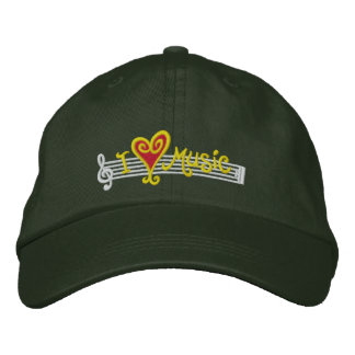 I Love Music Cap Embroidered Hat