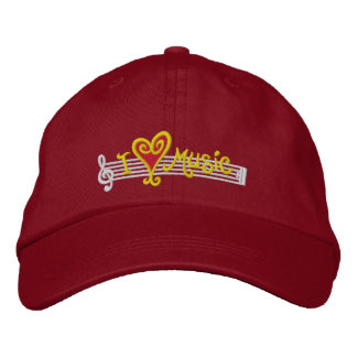 I Love Music Cap Embroidered Hats
