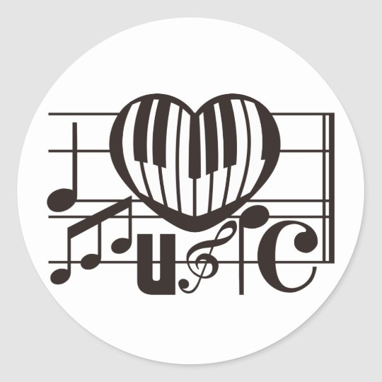 I LOVE MUSIC CLASSIC ROUND STICKER