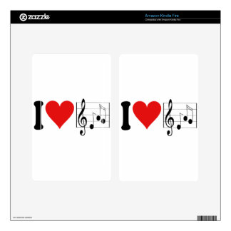 I Love Music * Decal For Kindle Fire