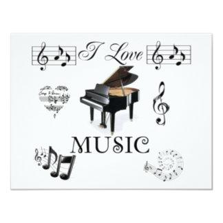 I Love Music - Designer Invitation