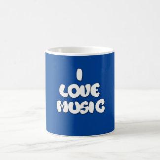 I Love Music Fun Cool Text Blue Mug/Cup Coffee Mug