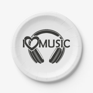 I love music headphones paper plate