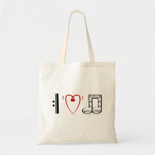 I Love Music (I heart notes) Tote Bags