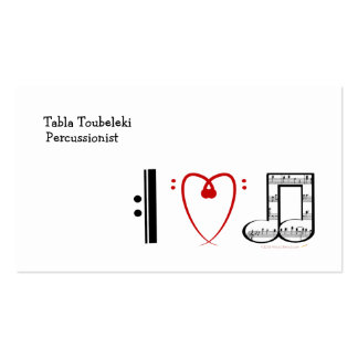 I Love Music I heart notes Business Card Template