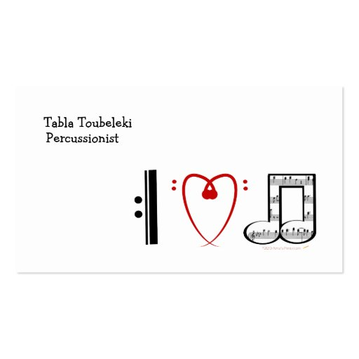 I Love Music (I heart notes) Business Card Template