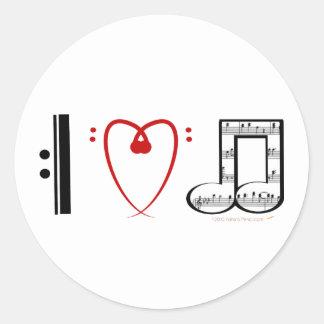 I Love Music (I heart notes) Classic Round Sticker