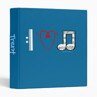 I Love Music (I Heart Notes) Custom Name Template 3 Ring Binder