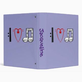 I Love Music (I Heart Notes) Custom Name Template 3 Ring Binders