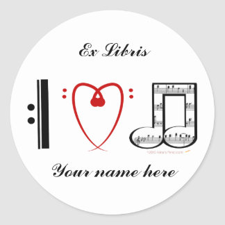 I Love Music (I heart notes) Ex Libris Bookplate Classic Round Sticker