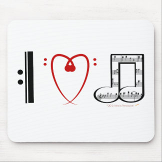 I Love Music (I heart notes) Mouse Pad