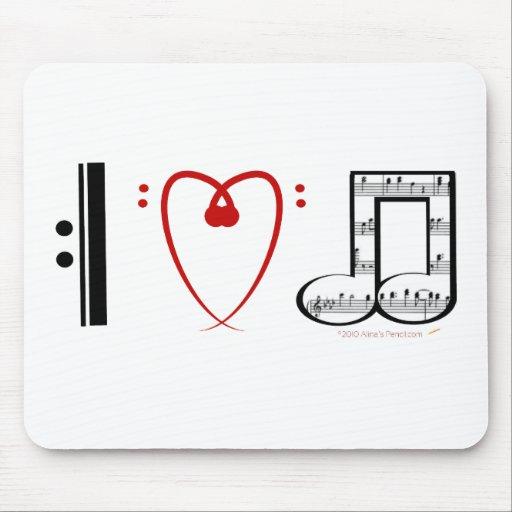 I Love Music (I heart notes) Mousepad